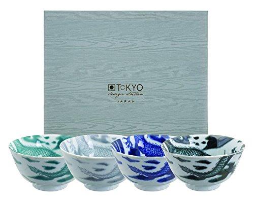 TOKYO design studio, Dragon (Drachen), Schalen Set 4x12,7cm, Japan, rund, in dekorativer Geschenkbox. Schüsseln Porzellan Set.