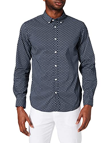 Springfield Camisa Repelente líquidos, Estampado Azul, S para Hombre