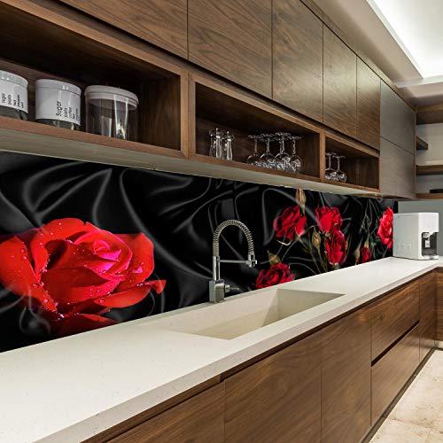wandmotiv24 Küchenrückwand Rosen Rot Schwarz Tuch Seide 260 x 60cm (B x H) - Acrylglas 4mm Nischenrückwand, Spritzschutz, Fliesenspiegel-Ersatz, Deko Küche M1078