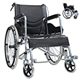 Round World 車椅子 折り畳み式車椅子 介助型 軽量アルミ製 簡易車椅子 自走車椅子 介護車椅子 折りたたみ 旅行用 外出用 軽い車椅子 ノーパンクタイヤ 自走 車いす 車イス BLACK