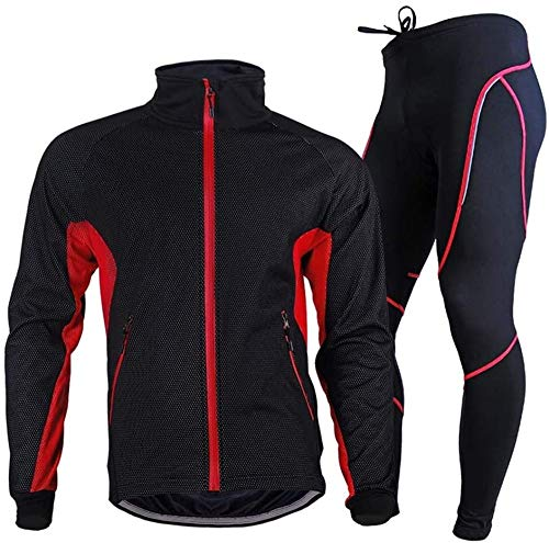 Men's Long Sleeve Cycling Jersey Set,Bicycle Outdoor Cycling Clothes + Pants Breathable Quick-Dry,C-XXXL