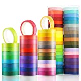 Boao 40 Rolls Colorful Washi Tapes Decorative Masking Tapes Board Line Rainbow Tape Rolls for Arts Crafts, 40 Colors