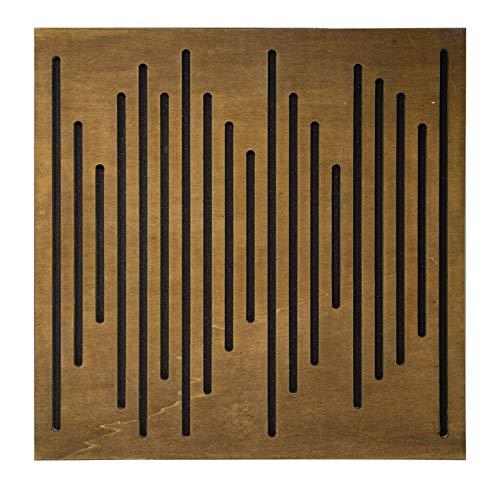Pannello Fonoassorbente Wave Wood in Pioppo - Sagoma Line - Noce-giallofondo