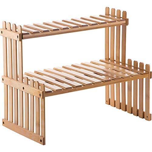 Vobajf Especiero Estante de Especia de Hierbas, Especias 2 Nivel de bambú Holder Independiente con Altura Ajustable for el bambú Mueble de Cocina Organizador (Color : A, Size : 36.5X21X29.5CM)