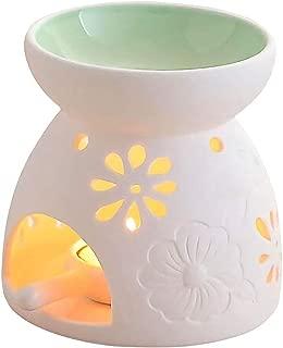 Singeek Ceramic Tea Light Candle Holder/Wax Melt Warmer, Essential Oil Burner Aromatherapy Diffuser for Living Room, Balcony Spa Yoga Meditation (Green)