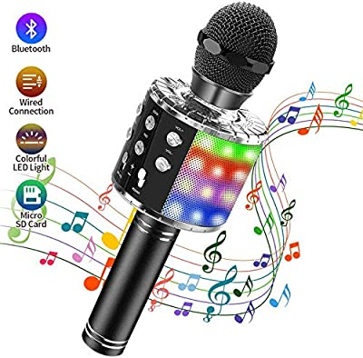 Teaisiy Wireless Bluetooth Karaoke Microphone, 4 in 1 Magic Sound Portable Handheld Kids Karaoke Machine for Home KTV/Outdoor with LED Lights, Compatible with Android & iOS/PC (Black)