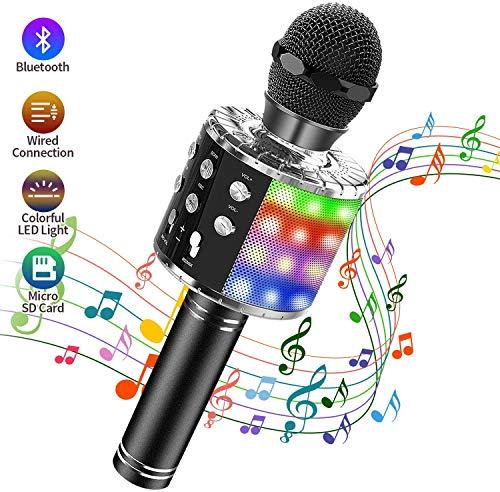 Karaoke Mikrofon Bluetooth, 4 in 1 Drahtloses Tragbarer Karaoke Mikrophone mit Lautsprecher und Tanzen LED Lichter für Musik Spielen KTV,Party, Lautsprecher für IOS/Android/PC/Smartphone