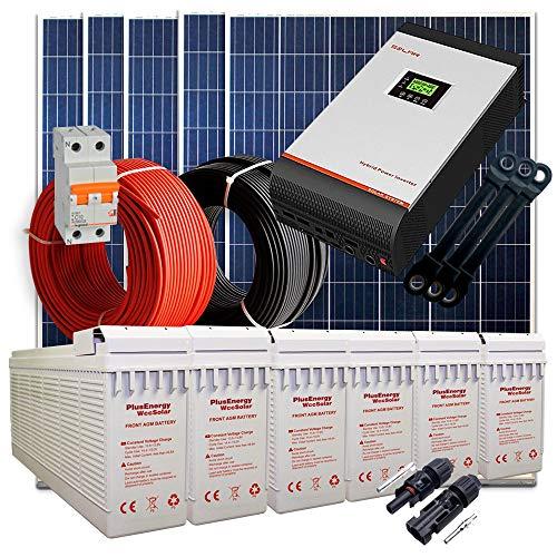 Kit Solar 24V 1.500W / 7500W Día + 5 Paneles + 6 Baterías T-250Ah + Inversor Multifunción 5kva con Regulador MPPT 80A