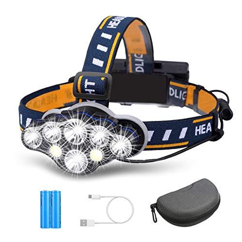 Outerdo Lampada frontale super luminosa, a 8 LED, con 8 modalità di illuminazione e luce di avvertimento, porta USB e 2 batterie impermeabili, ideale per campeggio, pesca, cantina, jogging