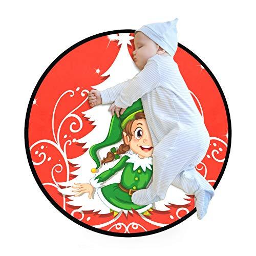 N\O Alfombra redonda para niños, diseño de elfo y regalo de Navidad, color rojo, antideslizante, grande, para sala de estar, dormitorio, sala de juegos (70 cm de diámetro)