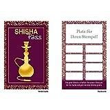 Premium Shisha Bonuskarten 50 Stk. mit 10 Stempelfeldern. Treuekarten passend für Bereiche wie Shisha Bar Shisha rauchen Gastronomie, Restaurant, Getränkehandel, Freizeit, Feier, Geschenk,...