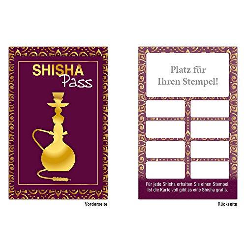 Premium Shisha Bonuskarten 250 Stk. mit 10 Stempelfeldern. Treuekarten passend für Bereiche wie Shisha Bar Shisha rauchen Gastronomie, Restaurant, Getränkehandel, Freizeit, Feier, Geschenk, Gaststätte