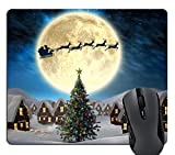 Wknoon Merry Christmas Mouse Pad Custom, Xmas Santa Claus and Deer Sled at Bright Beige Moon Night