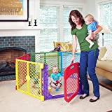 Toddleroo by North States Superyard Colorplay Ultimate 6 Panel Baby Play Yard: Safe Play Area Indoors/Outdoors. Folds up with Carrying Strap. Freestanding. 18.5 sq ft Enclosure (26' Tall, Multicolor)