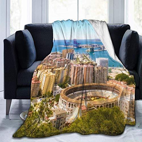 AEMAPE Vista aérea de Málaga con la Plaza de toros y el Puerto España Ciudad Tradicional Europea Manta Fuzzy Shaggy Blanket Felpa Cómoda Manta forch 127X102CM