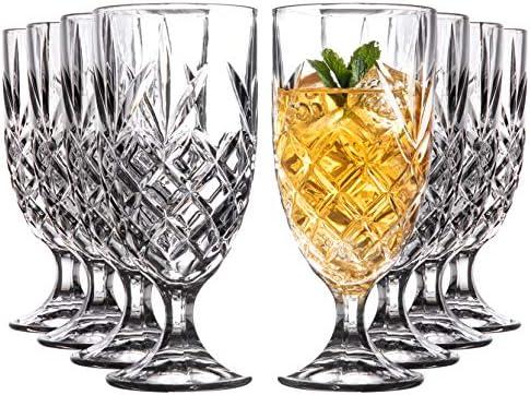 Royalty Art Kinsley Lowball Whiskey Glasses Set 8 Long Stem Tumbler Tall Goblet Style Glassware product image