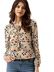 POISON IVY Womens Casual Full Sleeve Floral Print Top