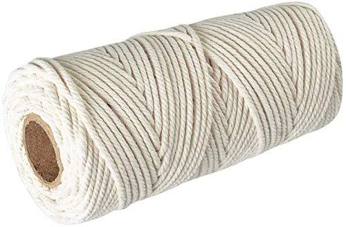 Makramee Garn, Baumwollgarn 3mm x 200m in weiß, Baumwollkordel 3mm / Macrame Yarn / DIY Handwerk für Makramee Wandbehang, Weben Dekoration, Hängepflanzen mit 20 Holzperlen im Set + eBook zum Einstieg