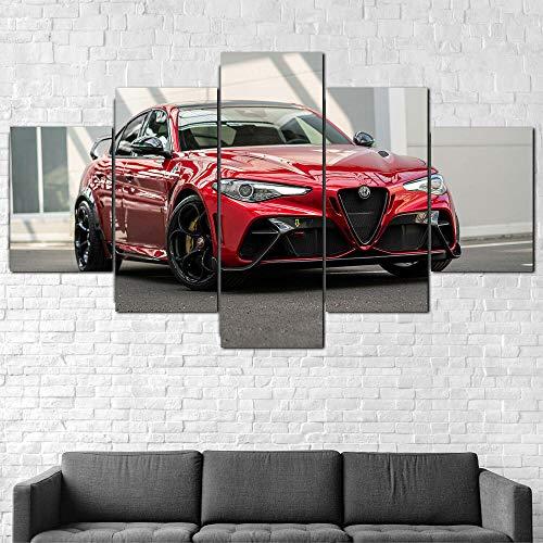 Bild auf Leinwand - Modern Alfa Romeo Giulia GTAm 2020 Auto - Modern - Leinwandbilder - Fünfteilig - Mehrteilig - zum Aufhängen Bereit - Bilder - Kunstdruck