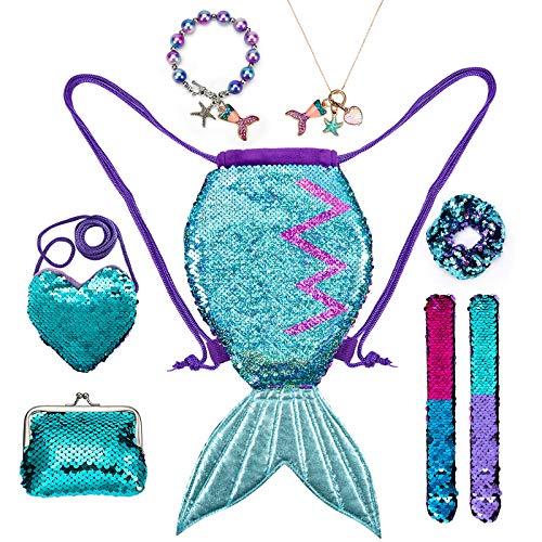 INSOUR Meerjungfrau Kordelzug Rucksack Mode Wendepailletten Schnapparmbänder Glitzer Geldbörse Perlenarmband Halskette für Mädchen Kinder