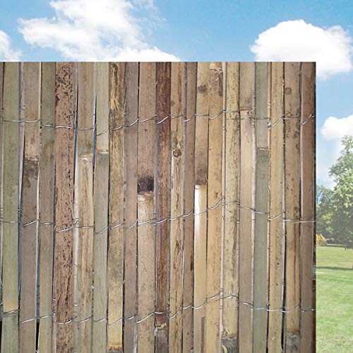 FB FunkyBuy® Natural Slatted Fence Panel Peeled Reed Fencing Screening Roll Screen Garden Outdoor Privacy -1m x 4m