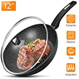 "12"" Nonstick Frying Pan with Lid - Fry Pan with Stone-Derived Non-stick Coating, Stir Fry Wok with Ergonomic Handle, Granite Skillet with German APEO & PFOA-Free Ceramic Titanium Coating"