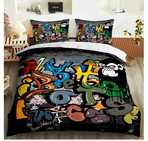 Nat999Lily Funda Nórdica 3D Hip-Hop Graffiti Juego De Cama con Estampado De Niños Adultos Juego De Funda Nórdica Popular Funda De Almohada Twin Full Queen King Decoración De Dormitorio 220x240cm