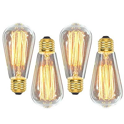 Vintage Edison Light Bulbs, 60W, ST64, E26, Squirrel Cage, Dimmable, Clear Glass, Industrial Vintage Incandescent Bulbs (4 Pack)