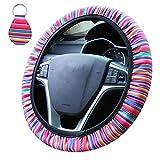 Accmor Universal Steering Wheel Cover, 15 inch Rainbow Stripes Steering Wheel Covers Neopr...