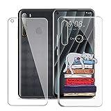 KJYF Fundas para HTC Desire 20 Pro (6.5 Pulgadas) + Protectores de Pantalla in Cristal Templado HD, Flexible Case Caso Cover Transparente TPU Silicona - Libro y Gato