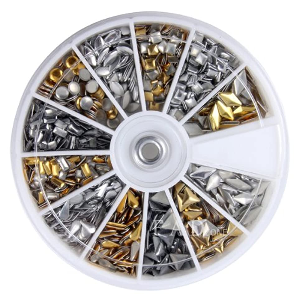 Hot New 2014 Model Nail Art 3d Design Metal Studs Silver Gold Mix Shaped Round Wheel Decoration Tip