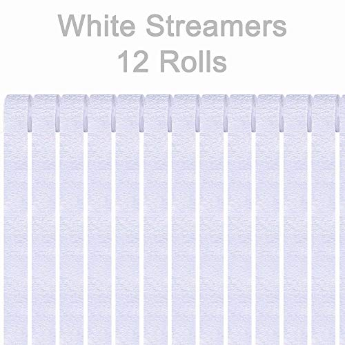 AimtoHome White Crepe Paper Streamers, 12 Rolls White Party Streamers Decorations for Birthday Party, Family Gathering, Wedding Decoration