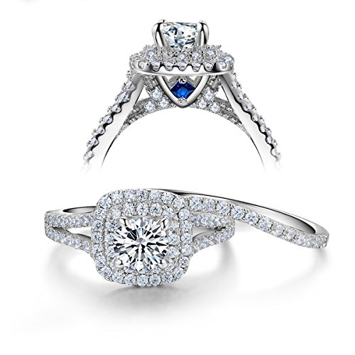 Newshe Wedding Engagement Ring Set 925 Sterling Silver 2ct Round Created Blue Sapphire White Cz 5-12 White
