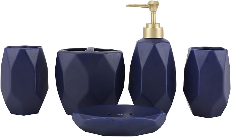 zxb-shop Soap Max 42% OFF Dispenser for Bathroom 5-Piece Cera Set Blue Black Recommended
