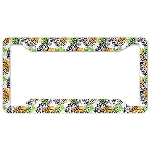 WOSITON Pineapple Fruit License Plate Frame 4 Pieces Design License Plate Frame With 4Holes Fite For Home white 16x31cm