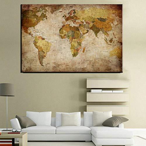 Cuadro Buda Relieve Cartel del Mapa del Viejo Mundo Vintage Impresiones en Lienzo Cartel Sala de Estudio y decoración de la Oficina Sin Marco 50x75cm