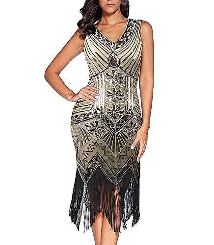 LYUK 1920er Jahre Flapper-Kleid Gatsby Kleider für Frauen, V-Ausschnitt Perlen Fransen Cocktailkleid Abendkleider Flapper-Kleider für Party Hochzeit,Hellgelb,L