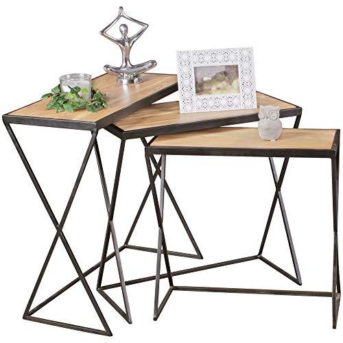 FineBuy Tables gigognes Ensemble Trois pièces Bois Massif Acacia 65 x 65 x 32 cm Table de Salon   Table d'appoint Moderne   Meubles en Bois Table Basse   Table en Bois Massif Jambes métalliques