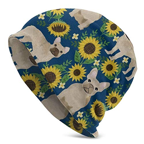French Bulldog Sunflowers Stylish Slouchy Beanie for Men/Women - Casual Stretchy Breathable Hip-hop Skull Cap Baggy Oversize Knit Hat