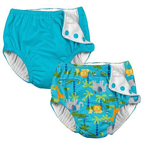 i Play. 2 Pack Boy Reusable Baby Swim Diapers Aqua Jungle and Aqua Blue 12 Mth