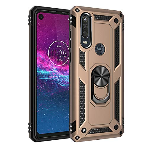 Asdsinfor Moto One Action Case Shockproof and Anti-Fall Robust Protection Case with 360 Degree Metal Ring Magnetic Holder Base Bracket Cover for Motorola Moto One Action / P40 Power Gold AC