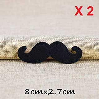 2 Black Large Mustache Hipster Embroidered Patch 80x27mm R035