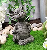 Ebros Keep Off Flip The Bird Rude Baby Dragon Sitting Statue 10' H Fairy Garden Faux Stone Resin Finish Guest Greeter Figurine