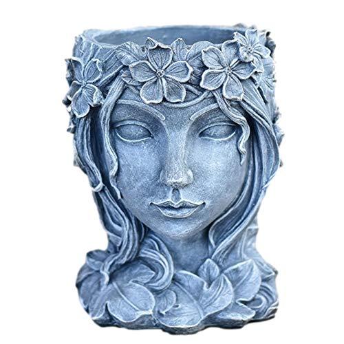 beeyuk Maceta de Flores con Cabeza de Diosa de diseño Creativo, Maceta de Flores suculentas de Planta Decorativa de 7,9 Pulgadas, Estatua de Cara de Belleza, Resina, terraza de jardín para Generous
