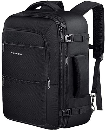 Travel Backpack, 40L Carry On Flight Approved Weekender Backpack, Expandable Airline Approved Travel Backpacks Bag for Men Women, Water Resistant Luggage backpack Rucksack for Outdoor,Black