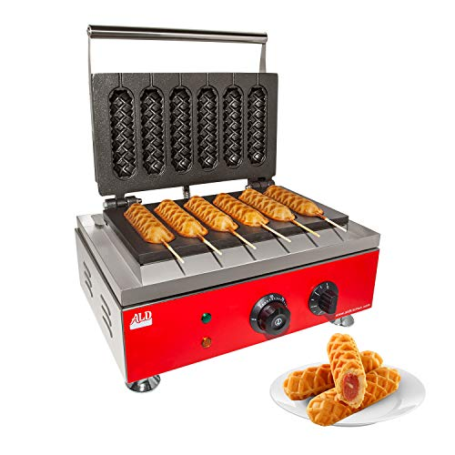 ALDKitchen Hotdog Waffle Maker | Waffle Iron for Corn Dogs | Stainless Steel | Lolly Waffles on a Stick | 110V (Six Waflles)