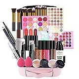 Holzsammlung Todo-en-Uno Set de Maquillaje, Diseño de Viaje Compacto y Ligero Cosmética de Kit de Inicio Esencial, Kit de Maquillaje Profesional Bolsa de Almacenamiento de Regalo para Niñas Mujeres