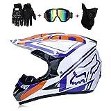 Casco da Motocross Adulto Doppio Sport Casco Moto MX ATV Casco da motorino ATV D.O.T Fox Certificato con Occhiali Guanti Maschera Blu Bianco (S, M, L, XL),S55~56CM