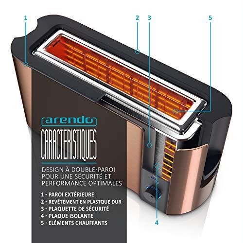 Arendo - Grille-Pain Automatique 2 fentes - Grille pain fente longue – Design Moderne - 1000W - 6 niveaux réglable - fonction décongélation - réchauffe viennoiseries plateau à miettes – Toaster Cuivre