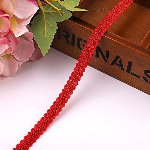 RAILONCH 40M x10mm Posamentenborte,Schleifenband Geflochtenen Gimp Trim Deko Stoffband für Hochzeit Geburtstag Party Dekoration DIY Handwerk Basteln (Rot)